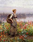 Daniel Ridgeway Knight The flower girl oil painting artist
