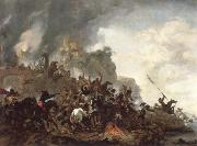 Philips Wouwerman cavalry making a sortie from a fort on a hill oil painting artist