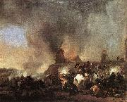 Philips Wouwerman Cavalry Battle in front of a Burning Mill by Philip Wouwerman oil painting artist