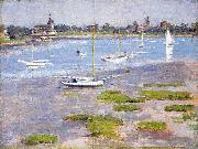 Theodore Robinson Theodore Robinson, Low Tide Riverside Yacht Club oil painting artist