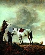 Philips Wouwerman skimmel  och pojke oil painting artist