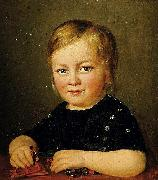 Anonymous Child with toy figures oil painting artist