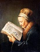 Gerard Dou Portrait of an old woman reading oil painting artist