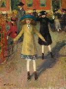 William Glackens Children Rollerskating oil painting artist