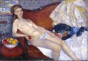 William Glackens Nude with Apple oil painting artist