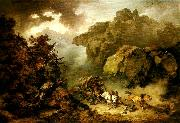 Philippe Jacques landscape with carriage in a storm oil painting artist