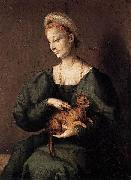 BACCHIACCA Woman with a Cat oil painting artist