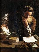 Domenico  Feti Archimedes Thoughtful oil painting artist