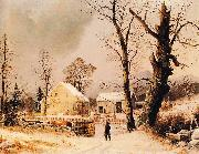 George Henry Durrie Winter Scene in New England oil painting artist