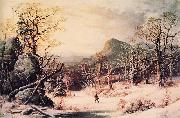 George Henry Durrie Hunter in Winter Wood oil painting artist