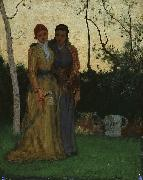 George Inness Two Sisters in the Garden oil painting artist