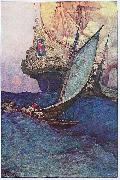 Howard Pyle An Attack on a Galleon: illustration of pirates approaching a ship oil painting artist