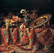 Jacques Hupin A still life of peaches, grapes and pomegranates in a pewter bowl, an ornate ormolu plate and ewers, all resting on a table draped with a carpet oil painting artist