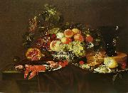 Joris van Son Crustaces, huitre et coupe de fruits avec un verre oil painting artist