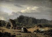 Fritz Petzholdt A Bog with Peat Cutters. Hosterkob, Sealand oil painting artist