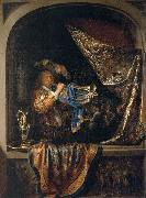 Gerard Dou Trumpet-Player in front of a Banquet oil painting artist