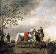 Philips Wouwerman Cavalier Holding a Dappled Grey Horse oil painting artist