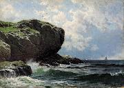 Alfred Thompson Bricher Rocky Head with Sailboats in Distance oil painting artist