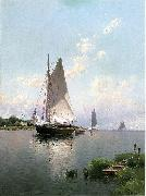 Alfred Thompson Bricher Blue Point, Long Island oil painting artist