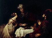 Jan victors Esther accuses Haman before Ahasveros oil painting artist