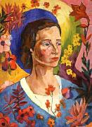 Lentulov, Aristarkh Unknown Lady in Blue oil painting artist