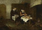 Quirijn van Brekelenkam A Couple Having a Meal before a Fireplace oil painting artist