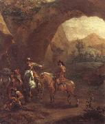 Adam Colonia Landscape with troopers and soldiers beneath a rocky arch oil painting picture wholesale