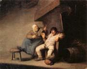 Adriaen van ostade A Peasant Couple in an  interior oil painting picture wholesale