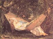 Courbet, Gustave The Hammock oil painting artist