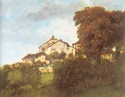 Courbet, Gustave The Houses of the Chateau D Ornans oil painting picture wholesale