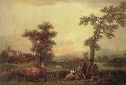 Francesco Zuccarelli Landscape with a Woman Leading a Cow oil painting artist