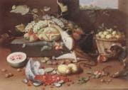 Jan Van Kessel the Younger Still life of a watermelon,pears,grapes and melons,plums,apricots and pears in a basket,with a dog surprising a monkey and fraises-de-bois spilling ou oil painting artist