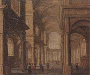 Jan Van Vucht The interior of a reformed church,with a beggar soliciting alms from an elegant company oil painting artist