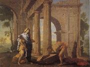 POUSSIN, Nicolas Theseus Finding His Father's Arms oil painting artist