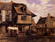 Pierre etienne theodore rousseau A Market in Normandy oil painting artist
