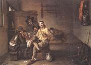 Pieter de Hooch A guardroom interior with an officer smiling and making a toast,together with a flute-player and other soldiers oil painting picture wholesale