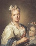 Rosalba carriera Self-portrait with a Portrait of Her Sister oil painting artist