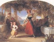 Thomas Uwins A Italian Mother Teaching her child the Tarantella oil painting picture wholesale