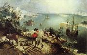 BRUEGEL, Pieter the Elder Landscape with the Fall of Icarus oil painting artist