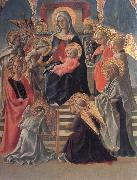 Fra Filippo Lippi Madonna and Child Enthroned with Angels,a Carmelite and other Saints oil painting artist