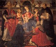 GHIRLANDAIO, Domenico Madonna and Child Enthroned between Angels and Saints oil painting artist