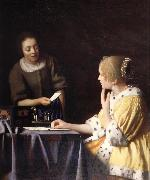 Johannes Vermeer Mistress and maid oil painting artist