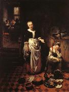 MAES, Nicolaes Interior with a Sleeping Maid and Her Mistress oil painting picture wholesale