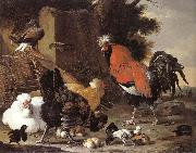 Melchior de Hondecoeter A Cock, Hens and Chicks oil painting artist