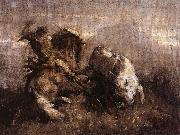 Nicolae Grigorescu Dragos Fighting the Bison oil painting picture wholesale