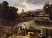 POUSSIN, Nicolas Landscape with Saint Matthew and the Angel oil painting artist