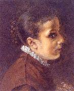 Adolph von Menzel Head of a Girl oil painting artist