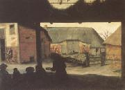 Cornelis van Dalem Farmyard with a Beggar (mk05) oil painting picture wholesale