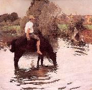 Muenier, Jules-Alexis Young Peasant Taking his Horse to the Watering Hole oil painting artist