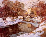 Mulhaupt, Frederick John Choate Bridge, Winter oil painting picture wholesale